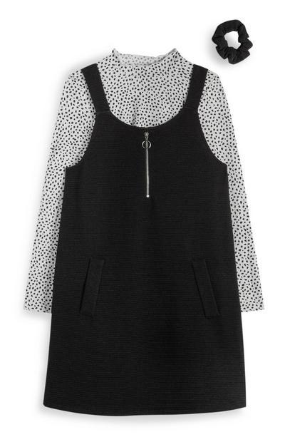 Schwarzes Latzkleid mit Reißverschluss, gepunktetem Shirt und Haargummi (Teeny Girls)