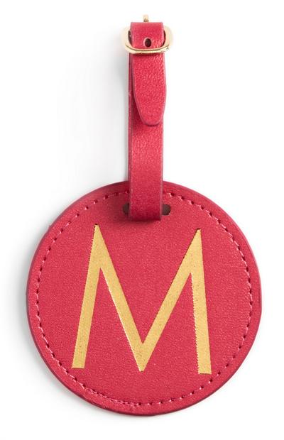 Red Initial Luggage Tag