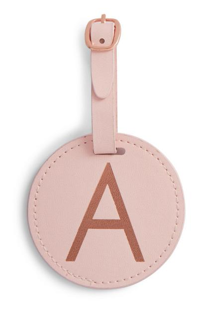 Pink Initial Luggage Tag
