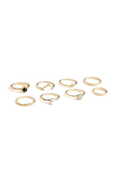 Yellow Diamante Rings 8Pk