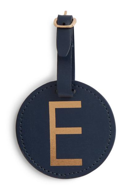 Navy Initial Luggage Tag