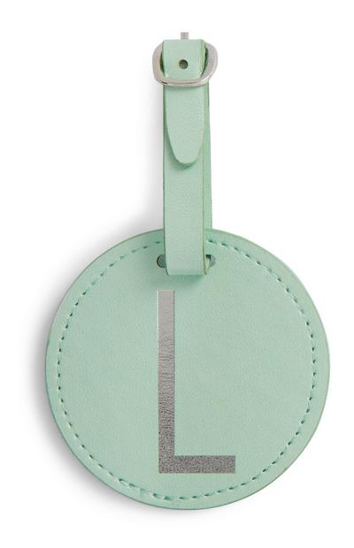 Mint Initial Luggage Tag