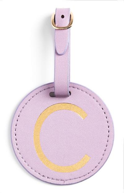 Lilac Initial Luggage Tag