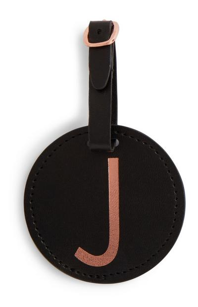 Black Initial Luggage Tag
