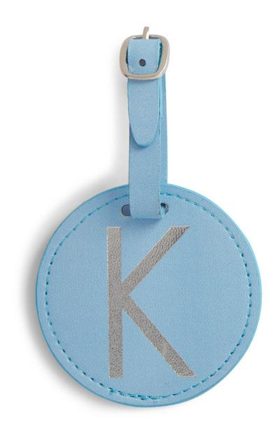 Blue Initial Luggage Tag