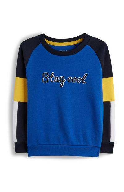 Younger Boy Block Colour Slogan Sweatshirt