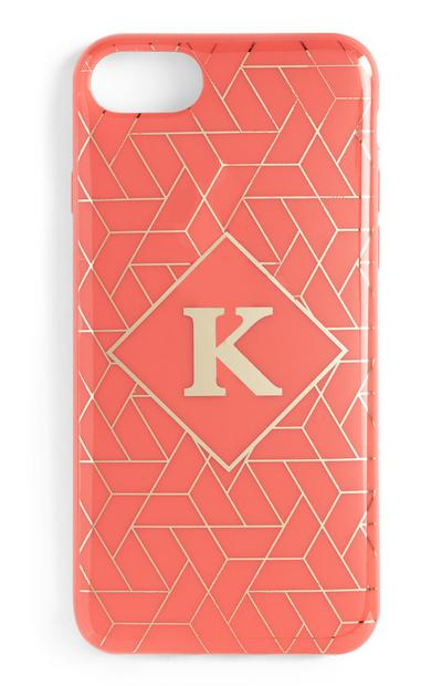 Coral Initial Phone Case