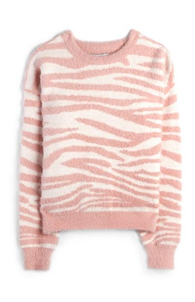 Older Girl Pink And White Tiger Print Fluffy Jumper