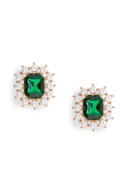 Green Gem Diamante Stud Earrings