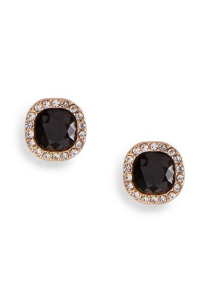 Black Gem Diamante Stud Earrings