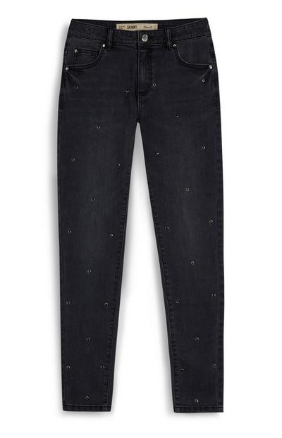 Older Girl Washed Black Stud Skinny Jeans