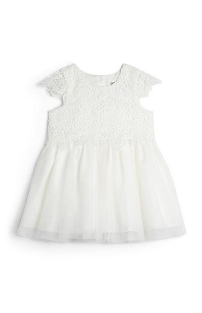 Baby Girl Ivory Mesh Embroidered Dress