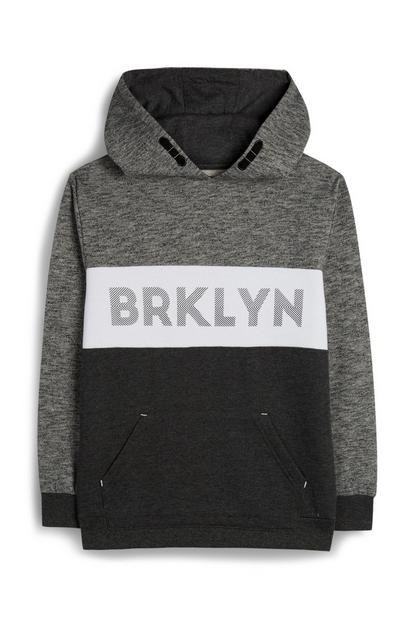 Older Boy Grey Black Block Colour Brooklyn Hoodie