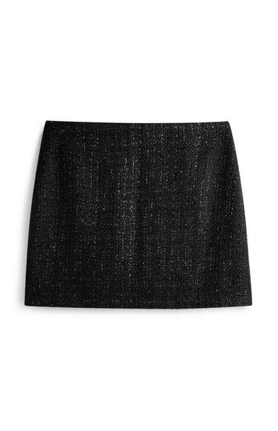 Black Glitter Boucle Mini Skirt