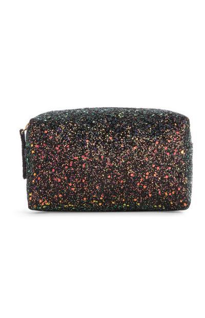 Black Glitter Make-Up Bag