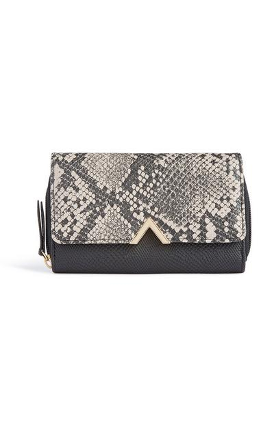 Grey Two Tone Croc Purse