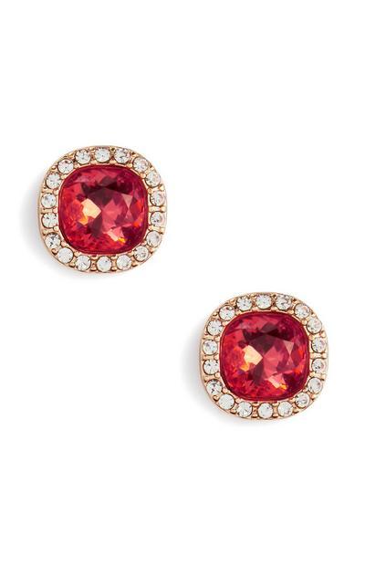 Pink Gemmed Diamante Stud Earrings