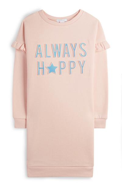 Younger Girl Pink Always Happy Jumper Dress