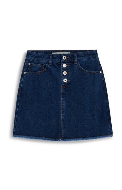 Older Girl Indigo Button Up Denim Skirt