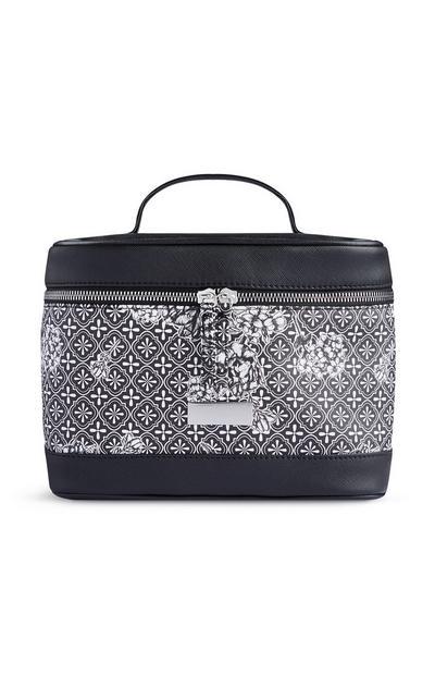 Black Patterned Make-Up Bag