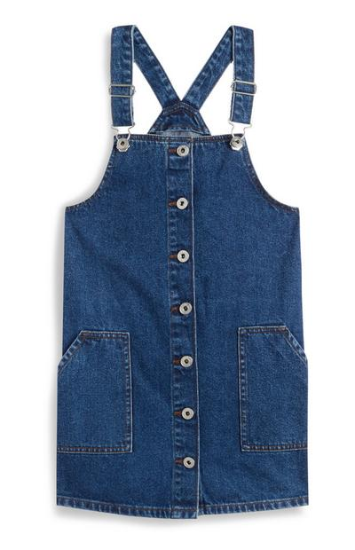 Older Girl Indigo Denim Button Up Pinafore