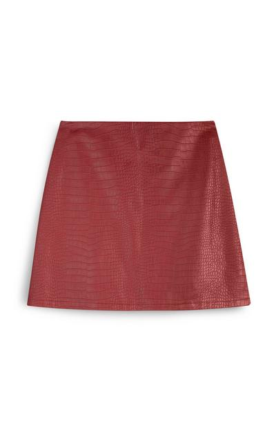 Red Croc Print PU Mini Skirt