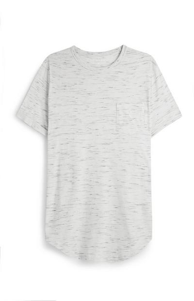 Ecrufarbenes, langes T-Shirt