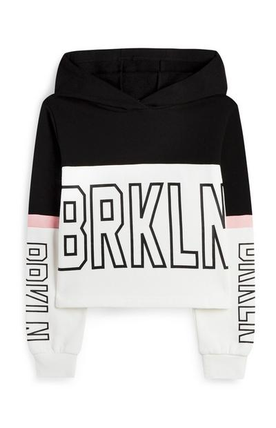 Older Girl White And Black Colour Block Brooklyn Hoodie