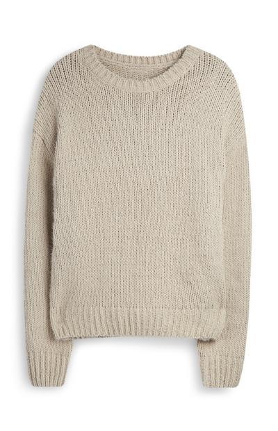 Taupefarbener Chenille-Pullover