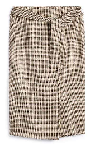 Camel Pin Check Midi Skirt With Belt