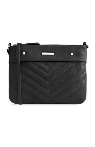 Black Stitch Cross Body Bag