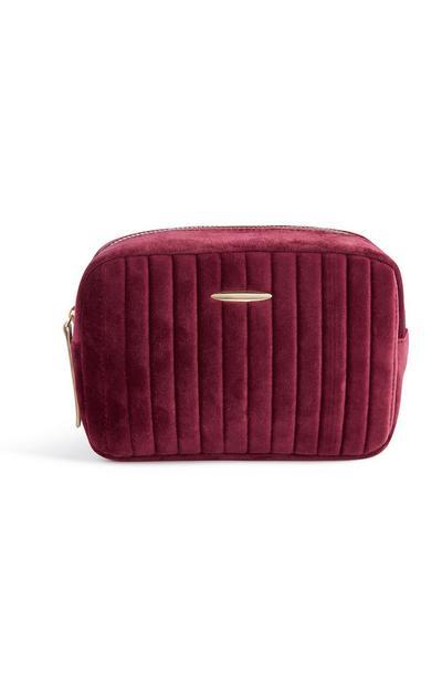 Burgundy Velvet Makeup Bag