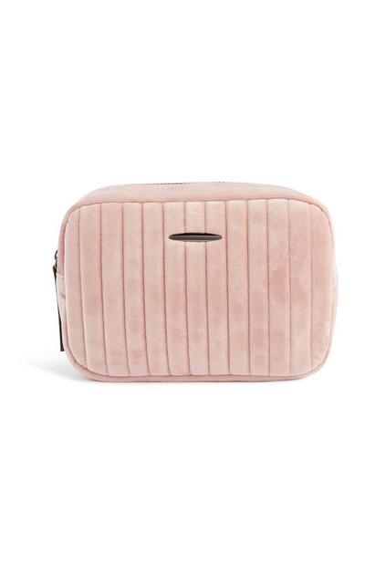 Baby Pink Velvet Makeup Bag