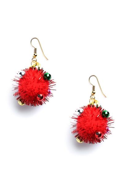 Christmas Pom Pom Earrings