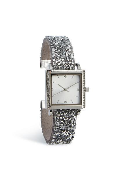Quadratische Armbanduhr mit Ziersteinen