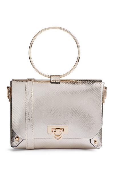 Silver Glossy Ring Handle Bag