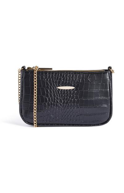 Black Croc Mini Cross Body Bag
