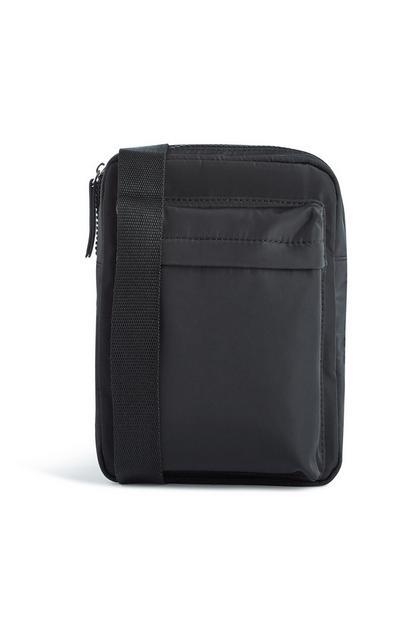 Schwarze Messenger-Tasche aus Nylon
