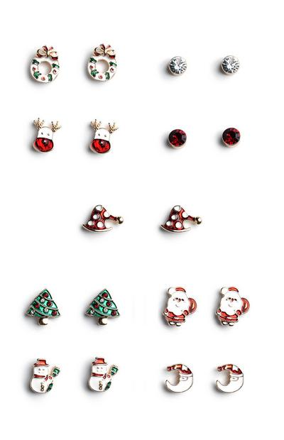 Christmas Stud Earrings 9Pk