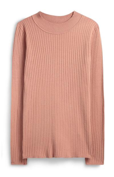 Light Pink Ribbed Turtle Neck Jumper