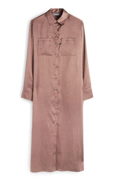 Blush Satin Midaxi Shirt Dress