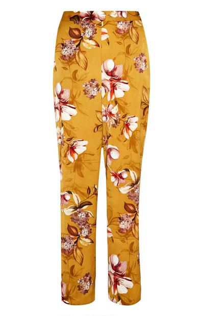 Mustard Floral Satin Pyjama Trousers