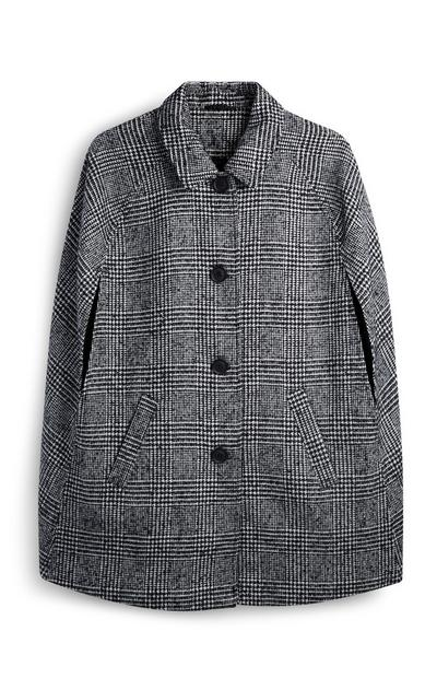 Check Buttoned Cape Coat