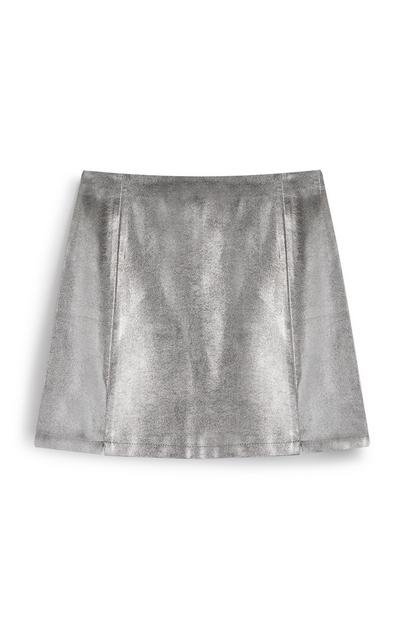 Glitter PU Mini Skirt