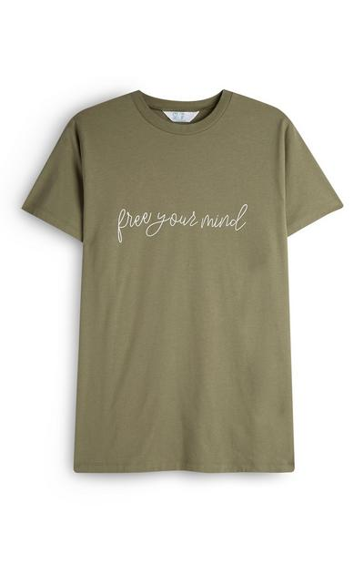 Khaki Free Your Mind Slogan T-Shirt
