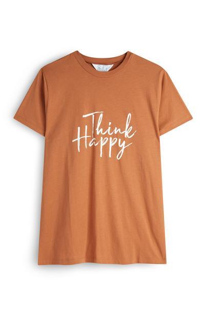 Tan Think Happy Slogan T-Shirt