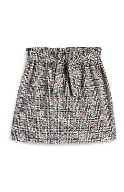Younger Girl Grey Check And Floral Paperbag Waist Skirt