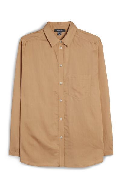 Camel Button Up Long Sleeve Shirt