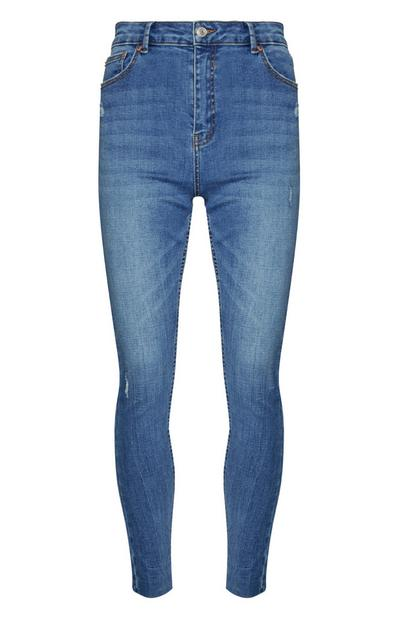 Mid Blue High Waisted Skinny Jeans