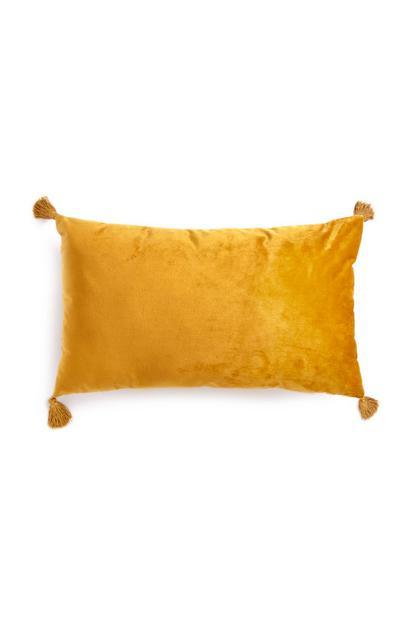 Yellow Oblong Velvet Cushion With Tassles